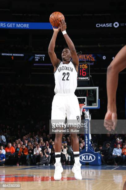 Caris LeVert of the Brooklyn Nets shoots the ball during the game against the New York Knicks on March 16 2017 at Madison Square Garden in New York...