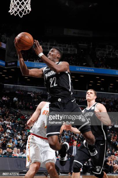 Caris LeVert of the Brooklyn Nets shoots the ball during the game against the Atlanta Hawks on October 22 2017 at Barclays Center in Brooklyn New...
