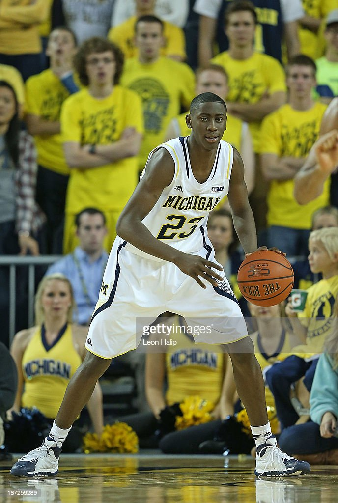 Caris LeVert #23 of the Michigan Wolverines looks on during the second half of the game against Wayne State University at Crisler Center on November 4, 2013 in Ann Arbor, Michigan. Michigan defeated Wayne State 79-60.