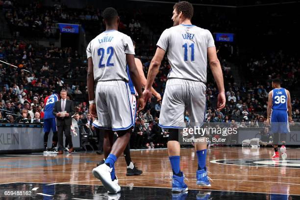 Caris LeVert talks with Brook Lopez of the Brooklyn Nets during the game against the Philadelphia 76ers on March 28 2017 at Barclays Center in...