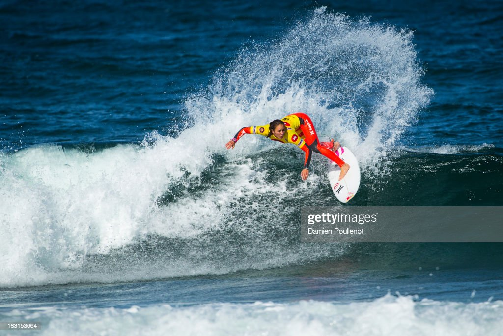 Carissa Moore from Hawaii taking the win and the world title at EDP Girls Pro on October 5, 2013 in Cascais, Portugal.