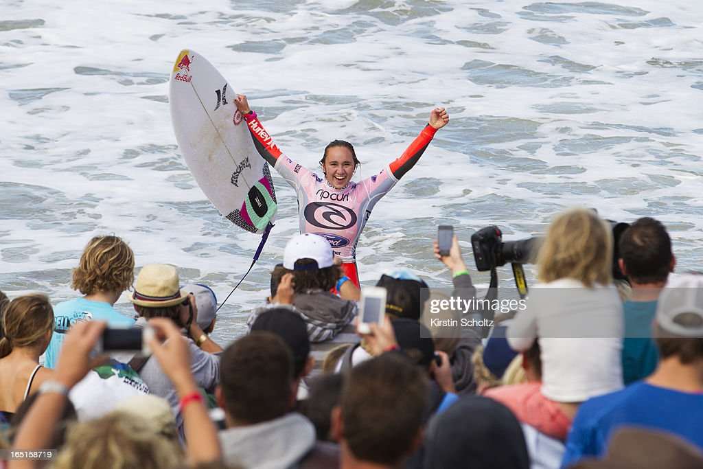 Carissa Moore of Hawaii celebrates her victory after winning the Rip Curl Pro Bells Beach on April 1, 2013 in Bells Beach, Australia.