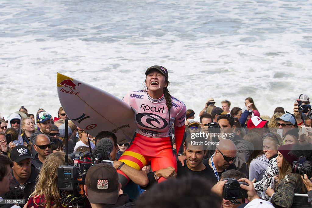 Carissa Moore of Hawaii is chaired up the beach after winning the Rip Curl Pro Bells Beach on April 1, 2013 in Bells Beach, Australia.