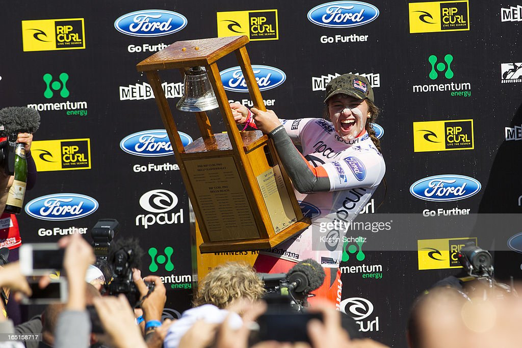 Carissa Moore of Hawaii rings the bell during prizegiving after winning the Rip Curl Pro Bells Beach on April 1, 2013 in Bells Beach, Australia.