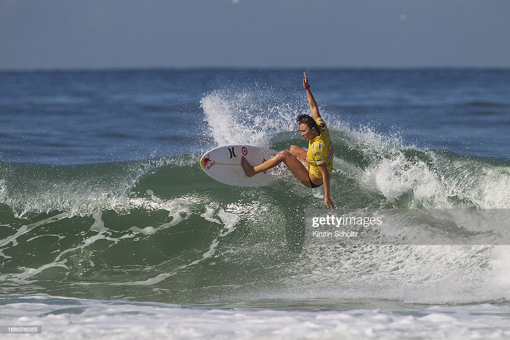 Carissa Moore of Hawaii surfs to an equal third place at the Colgate Plax Girls Pro on May 11, 2013 in Rio de Janeiro, Brazil.