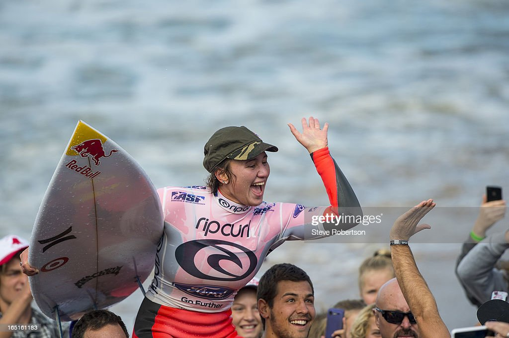 Carissa Moore of Hawaii wins the Rip Curl Pro at Bells Beach on April 1, 2013 in Bells Beach, Australia.