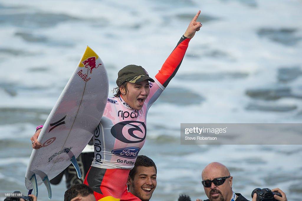 Carissa Moore of Hawaii wins the Rip Curl Pro at Bells Beach on April 1, 2013 in Bells Beach, Australia.