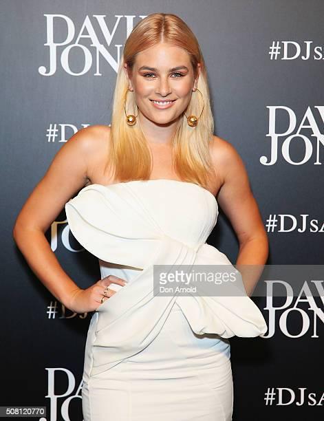 Carissa Walford arrives ahead of the David Jones Autumn/Winter 2016 Fashion Launch at David Jones Elizabeth Street Store on February 3 2016 in Sydney...