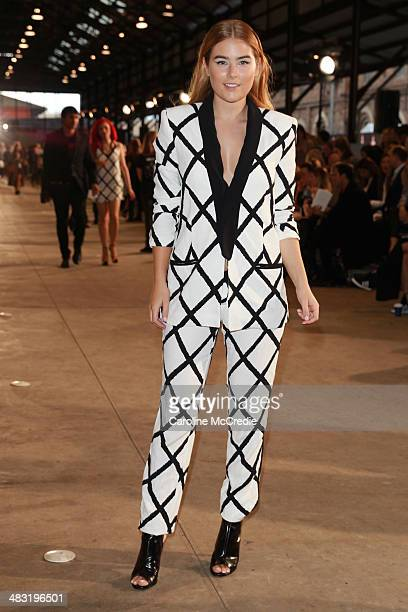 Carissa Walford attends the Bec and Bridge show at MercedesBenz Fashion Week Australia 2014 at Blacksmith's Worshop Carriageworks on April 7 2014 in...
