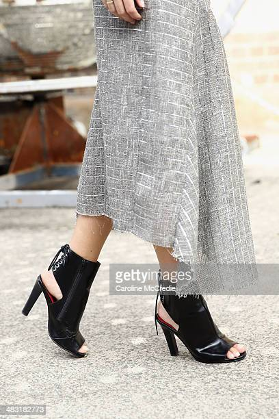 Carissa Walford wearing an Ellery outfit and Jeffrey Campbell shoes at MercedesBenz Fashion Week Australia 2014 at Carriageworks on April 7 2014 in...