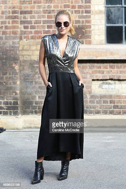Carissa Walford wearing Ginger Smart Alexander Wang and Sunday Somewhere sun glasses at MercedesBenz Fashion Week Australia 2015 at Carriageworks on...