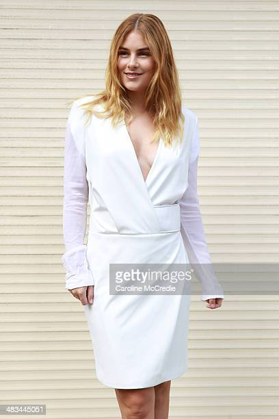 Carissa Woolford wearing Dion Lee attends the Dion Lee show during MercedesBenz Fashion Week Australia 2014 at 7 Danks Street Waterloo on April 9...