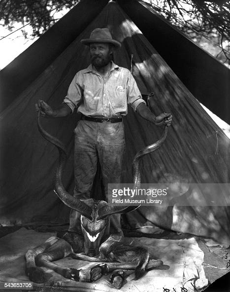 Carl Akeley posed with skull horns and hoofs of the Greater Kudu Tragelaphus strepsiceros Somalia June 2 1896