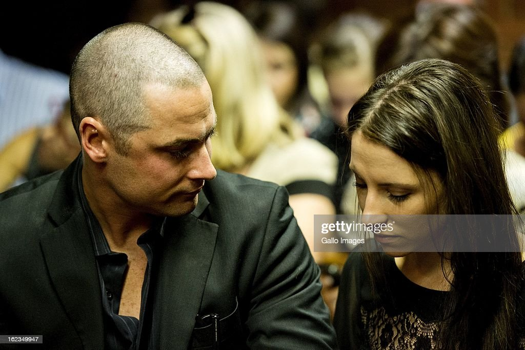 Carl and Aimee Pistorius at the Pretoria Magistrates court on February 22, 2013, in Pretoria, South Africa. Oscar Pistorius is accused of the murder of Reeva Steenkamp on February 14, 2013. This marks day 4 of his bail hearing.