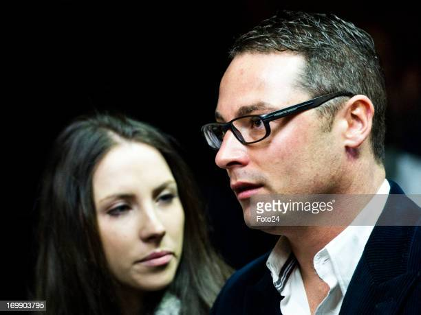 Carl and Aimee Pistorius Oscar's brother and sister in the Pretoria Magistrates court on June 4 in Pretoria South Africa Pistorius is accused of the...