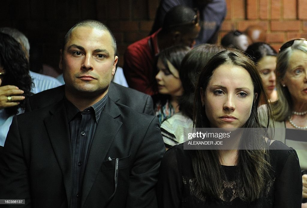 Carl and Aimee Pistorius, the brother and sister of South African Olympic sprinter Oscar Pistorius attend an audience of Oscar Pistorius' bail hearing for premeditated murder of his girlfriend at the courthouse in Pretoria on February 22, 2013. Oscar Pistorius was freed today on bail by a magistrate, pending a high-profile trial for killing his girlfriend Reeva Steenkamp.