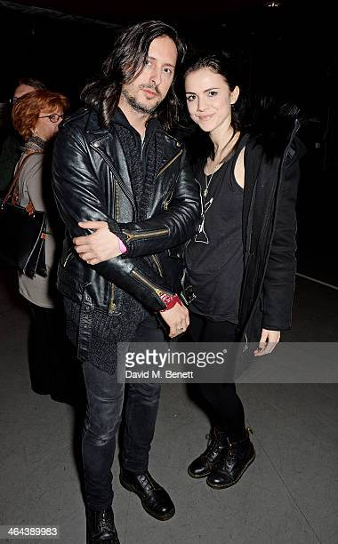 Carl Barat and Edie Langley arrive to watch Roundhouse ambassador Sadie Frost perform with FUERZABRUTA at The Roundhouse on January 22 2014 in London...