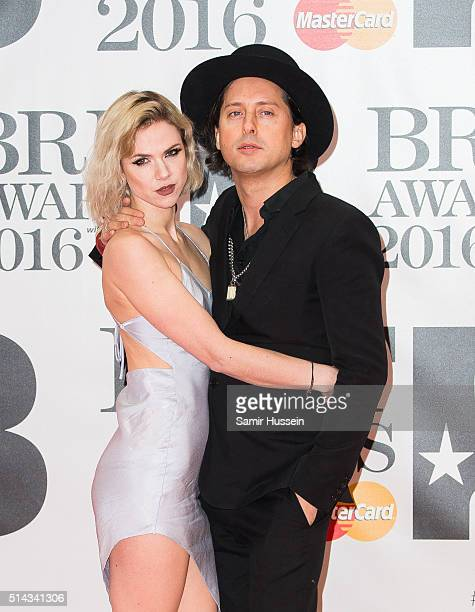 Carl Barat and Edie Langley attend the BRIT Awards 2016 at The O2 Arena on February 24 2016 in London England