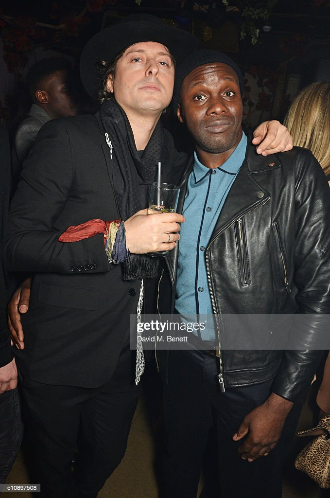 Carl Barat (L) and Gary Powell attend the Ciroc & NME Awards 2016 after party hosted by Fran Cutler at The Cuckoo Club on February 17, 2016 in London, England.