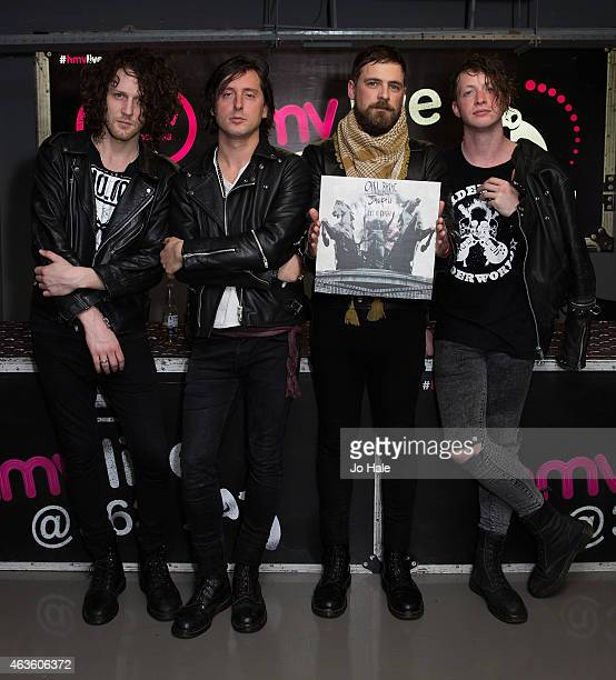 Carl Barat and The Jackals sign their debut Album 'Let it Reign' at HMV Oxford Street on February 16 2015 in London United Kingdom