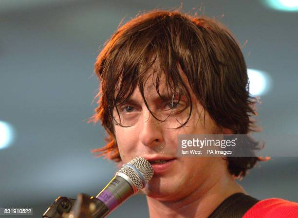 Carl Barat of Dirty Pretty Things during an instore gig at HMV in Oxford Street central London