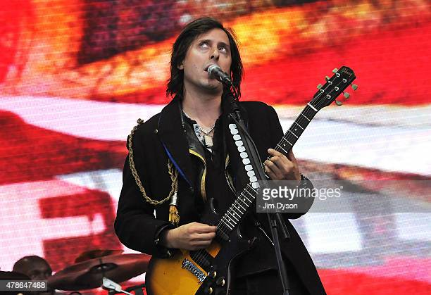 Carl Barat of The Libertines performs live on the Pyramid stage during the first day of the Glastonbury Festival at Worthy Farm Pilton on June 26...