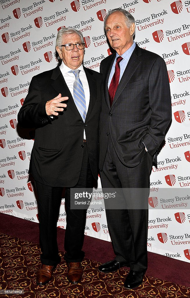 Carl Bernstein and Alan Alda attend the 2013 Stars Of Stony Brook Gala at Pier 60 on April 24, 2013 in New York City.
