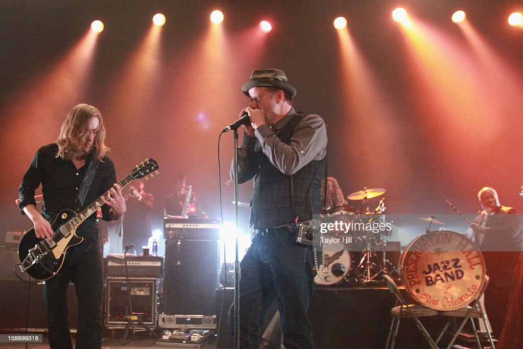 Carl Broemel, Danny Clinch, Patrick Hallahan, and Shannon Powell perform Chuck Berry's 'You Never Can Tell' during On the Beach: A Sandy Relief Concert at Paramount Theater on January 2, 2013 in Asbury Park, New Jersey.