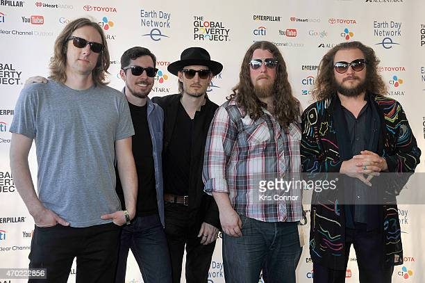 Carl Broemel Tom Blankenship Bo Koster Patrick Hallahan and Jim James of My Morning Jacket pose backstage during Global Citizen 2015 Earth Day on...