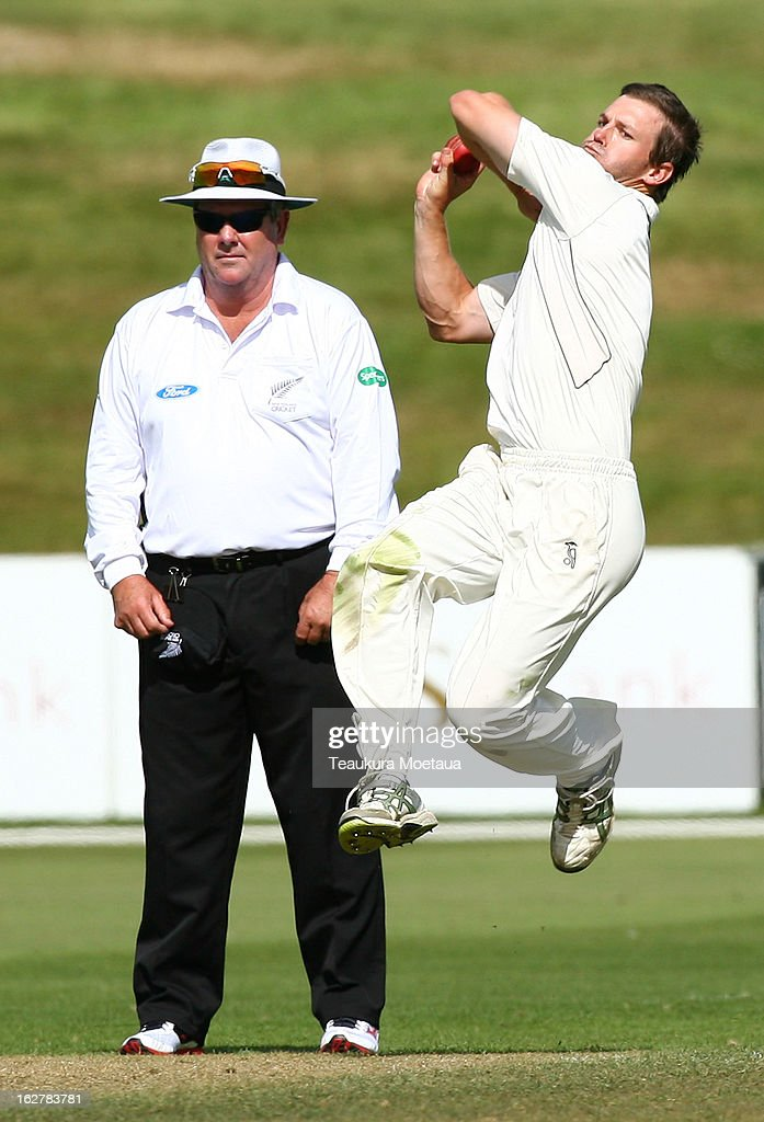 Carl Cachopa of the New Zealand XI bowls during the International tour match between New Zealand XI and England at Queenstown Events Centre on February 27, 2013 in Queenstown, New Zealand.