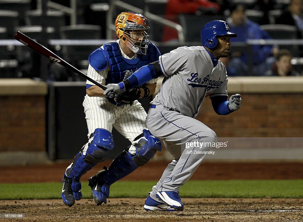 <a gi-track='captionPersonalityLinkClicked' href=/galleries/search?phrase=Carl+Crawford&family=editorial&specificpeople=208074 ng-click='$event.stopPropagation()'>Carl Crawford</a> #25 of the Los Angeles Dodgers grounds out in front of <a gi-track='captionPersonalityLinkClicked' href=/galleries/search?phrase=John+Buck&family=editorial&specificpeople=213730 ng-click='$event.stopPropagation()'>John Buck</a> #44 of the New York Mets in the seventh inning at Citi Field in the Flushing neighborhood of the Queens borough of New York City.