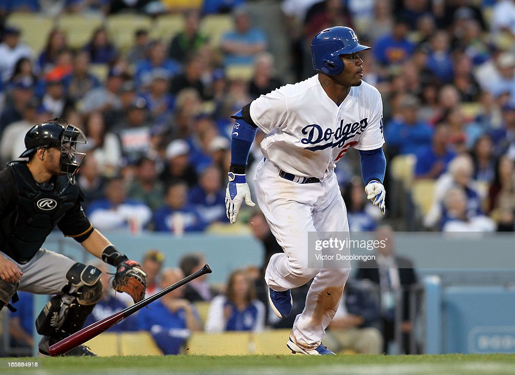 <a gi-track='captionPersonalityLinkClicked' href=/galleries/search?phrase=Carl+Crawford&family=editorial&specificpeople=208074 ng-click='$event.stopPropagation()'>Carl Crawford</a> #25 of the Los Angeles Dodgers hits an infield single to shortstop in the third inning against the Pittsburgh Pirates during the MLB game at Dodger Stadium on April 6, 2013 in Los Angeles, California. Crawford went on to score on a single by Mark Ellis in the inning. The Dodgers defeated the Pirates 1-0.
