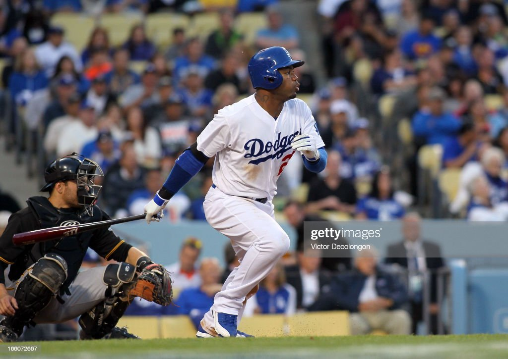 <a gi-track='captionPersonalityLinkClicked' href=/galleries/search?phrase=Carl+Crawford&family=editorial&specificpeople=208074 ng-click='$event.stopPropagation()'>Carl Crawford</a> #25 of the Los Angeles Dodgers hits an infield single to shortstop in the third inning during the MLB game against the Pittsburgh Pirates at Dodger Stadium on April 6, 2013 in Los Angeles, California. The Dodgers defeated the Pirates 1-0.
