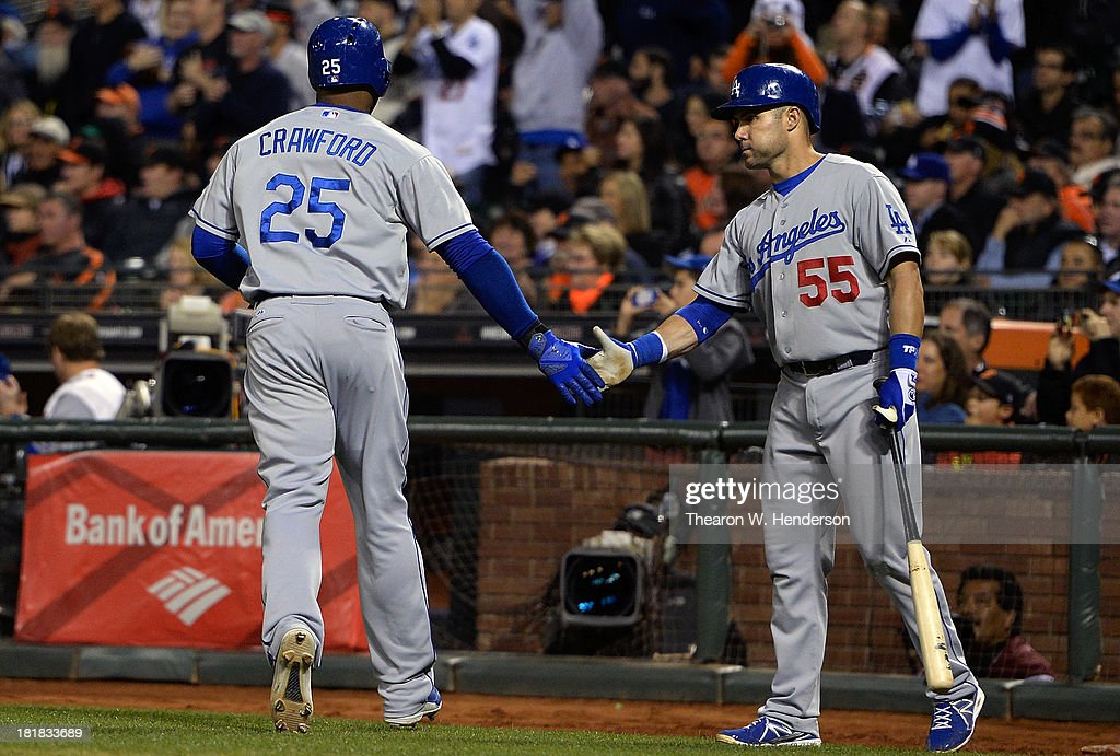 <a gi-track='captionPersonalityLinkClicked' href=/galleries/search?phrase=Carl+Crawford&family=editorial&specificpeople=208074 ng-click='$event.stopPropagation()'>Carl Crawford</a> #25 of the Los Angeles Dodgers is congratulated by <a gi-track='captionPersonalityLinkClicked' href=/galleries/search?phrase=Skip+Schumaker&family=editorial&specificpeople=640599 ng-click='$event.stopPropagation()'>Skip Schumaker</a> #55 after Crawford scored during the fourth inning against the San Francisco Giants at AT&T Park on September 25, 2013 in San Francisco, California.