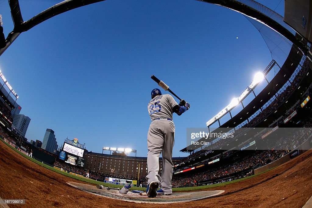 <a gi-track='captionPersonalityLinkClicked' href=/galleries/search?phrase=Carl+Crawford&family=editorial&specificpeople=208074 ng-click='$event.stopPropagation()'>Carl Crawford</a> #25 of the Los Angeles Dodgers waits to bat against the Baltimore Orioles during game two of a double header at Oriole Park at Camden Yards on April 20, 2013 in Baltimore, Maryland.
