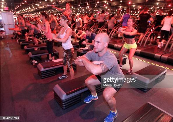 Carl De Grazio center works out at Barry's Bootcamp in Miami Beach Fla on Jan 11 2014