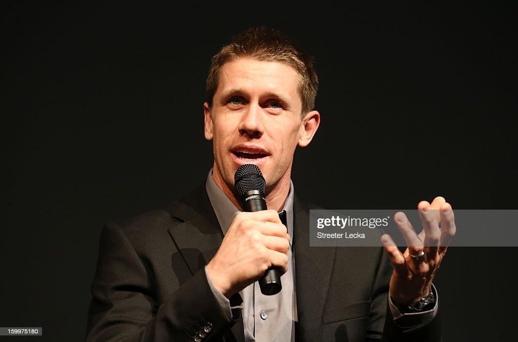 Carl Edwards, driver for Roush Fenway Racing, speaks to the media during the 2013 NASCAR Sprint Media Tour on January 24, 2013 in Concord, North Carolina.