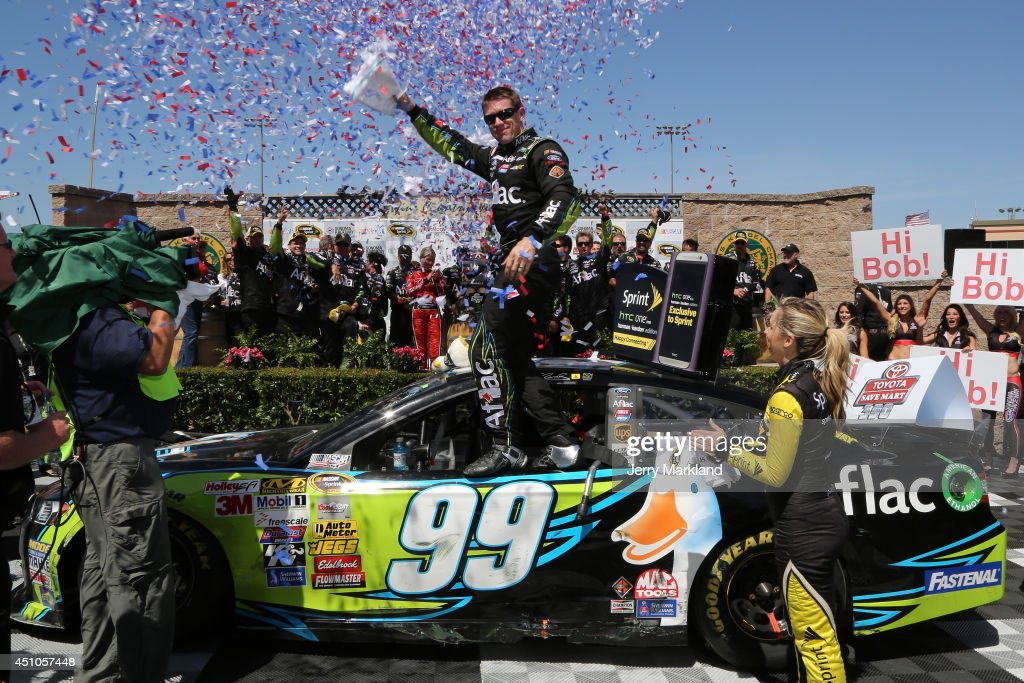 <a gi-track='captionPersonalityLinkClicked' href=/galleries/search?phrase=Carl+Edwards&family=editorial&specificpeople=193803 ng-click='$event.stopPropagation()'>Carl Edwards</a>, driver of the #99 Aflac Ford, celebrates i Victory Lane after winning the NASCAR Sprint Cup Series Toyota/Save Mart 350 at Sonoma Raceway on June 22, 2014 in Sonoma, California.