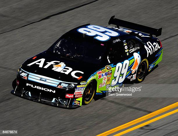 Carl Edwards driver of the AFLAC Ford drives during practice for the Budweiser Shootout at Daytona International Speedway on February 6 2008 in...