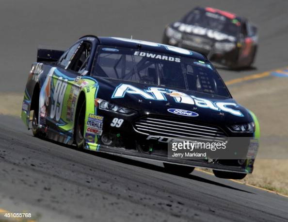 Carl Edwards driver of the Aflac Ford drives during the NASCAR Sprint Cup Series Toyota/Save Mart 350 at Sonoma Raceway on June 22 2014 in Sonoma...