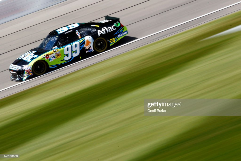 <a gi-track='captionPersonalityLinkClicked' href=/galleries/search?phrase=Carl+Edwards&family=editorial&specificpeople=193803 ng-click='$event.stopPropagation()'>Carl Edwards</a>, driver of the #99 Aflac Ford, drives on track during practice for the NASACAR Sprint Cup Series 400 at Kansas Speedway on April 20, 2012 in Kansas City, Kansas.