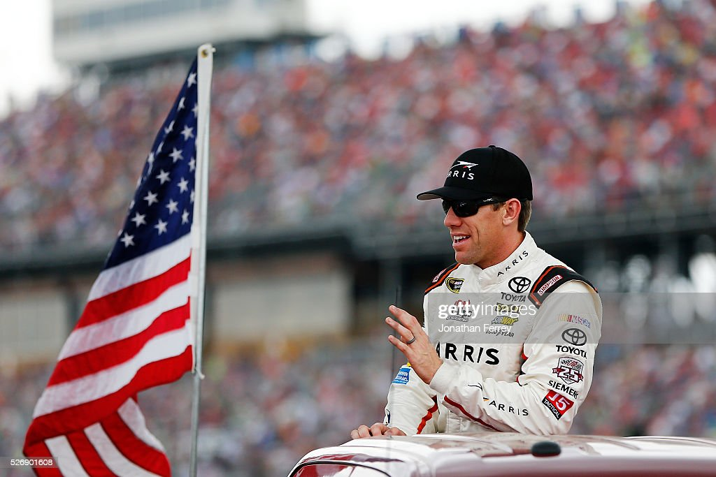 <a gi-track='captionPersonalityLinkClicked' href=/galleries/search?phrase=Carl+Edwards&family=editorial&specificpeople=193803 ng-click='$event.stopPropagation()'>Carl Edwards</a>, driver of the #19 ARRIS Toyota, is introduced prior to the NASCAR Sprint Cup Series GEICO 500 at Talladega Superspeedway on May 1, 2016 in Talladega, Alabama.