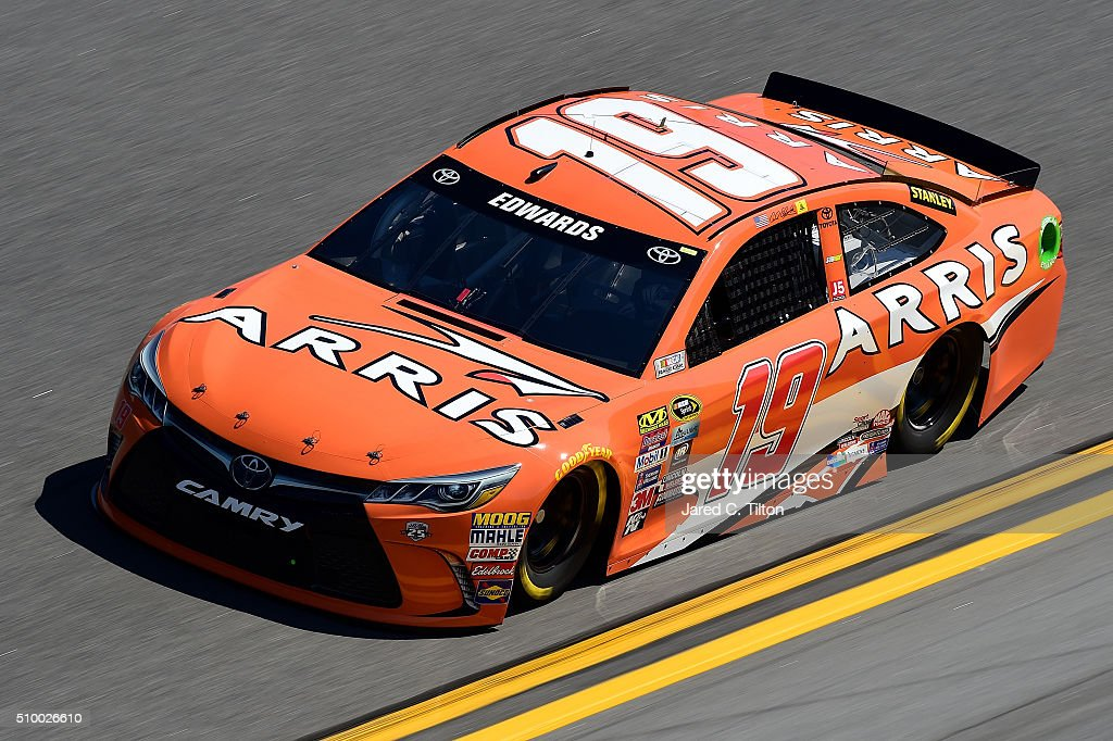 <a gi-track='captionPersonalityLinkClicked' href=/galleries/search?phrase=Carl+Edwards&family=editorial&specificpeople=193803 ng-click='$event.stopPropagation()'>Carl Edwards</a>, driver of the #19 ARRIS Toyota, practices for the NASCAR Sprint Cup Series Daytona 500 at Daytona International Speedway on February 13, 2016 in Daytona Beach, Florida.