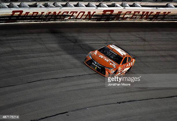 Carl Edwards driver of the ARRIS Toyota races the NASCAR Sprint Cup Series Bojangles' Southern 500 at Darlington Raceway on September 6 2015 in...