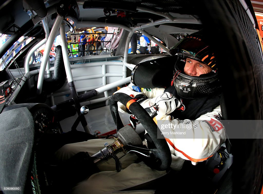 <a gi-track='captionPersonalityLinkClicked' href=/galleries/search?phrase=Carl+Edwards&family=editorial&specificpeople=193803 ng-click='$event.stopPropagation()'>Carl Edwards</a>, driver of the #19 ARRIS Toyota, sits in his car in the garage area during practice for the NASCAR Sprint Cup Series GEICO 500 at Talladega Superspeedway on April 29, 2016 in Talladega, Alabama.