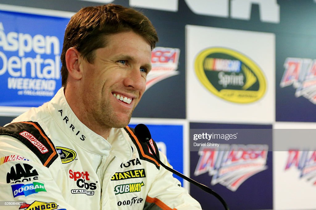 <a gi-track='captionPersonalityLinkClicked' href=/galleries/search?phrase=Carl+Edwards&family=editorial&specificpeople=193803 ng-click='$event.stopPropagation()'>Carl Edwards</a>, driver of the #19 ARRIS Toyota, speaks to the media during a press conference prior to practice for the NASCAR Sprint Cup Series GEICO 500 at Talladega Superspeedway on April 29, 2016 in Talladega, Alabama.