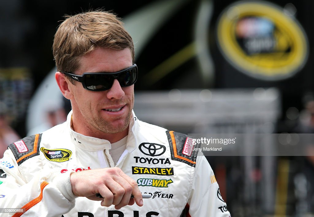 <a gi-track='captionPersonalityLinkClicked' href=/galleries/search?phrase=Carl+Edwards&family=editorial&specificpeople=193803 ng-click='$event.stopPropagation()'>Carl Edwards</a>, driver of the #19 ARRIS Toyota, stands in the garage area during practice for the NASCAR Sprint Cup Series GEICO 500 at Talladega Superspeedway on April 29, 2016 in Talladega, Alabama.