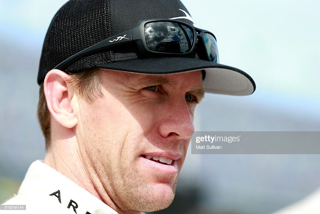 <a gi-track='captionPersonalityLinkClicked' href=/galleries/search?phrase=Carl+Edwards&family=editorial&specificpeople=193803 ng-click='$event.stopPropagation()'>Carl Edwards</a>, driver of the #19 ARRIS Toyota, stands on the grid during qualifying for the NASCAR Sprint Cup Series Daytona 500 at Daytona International Speedway on February 14, 2016 in Daytona Beach, Florida.