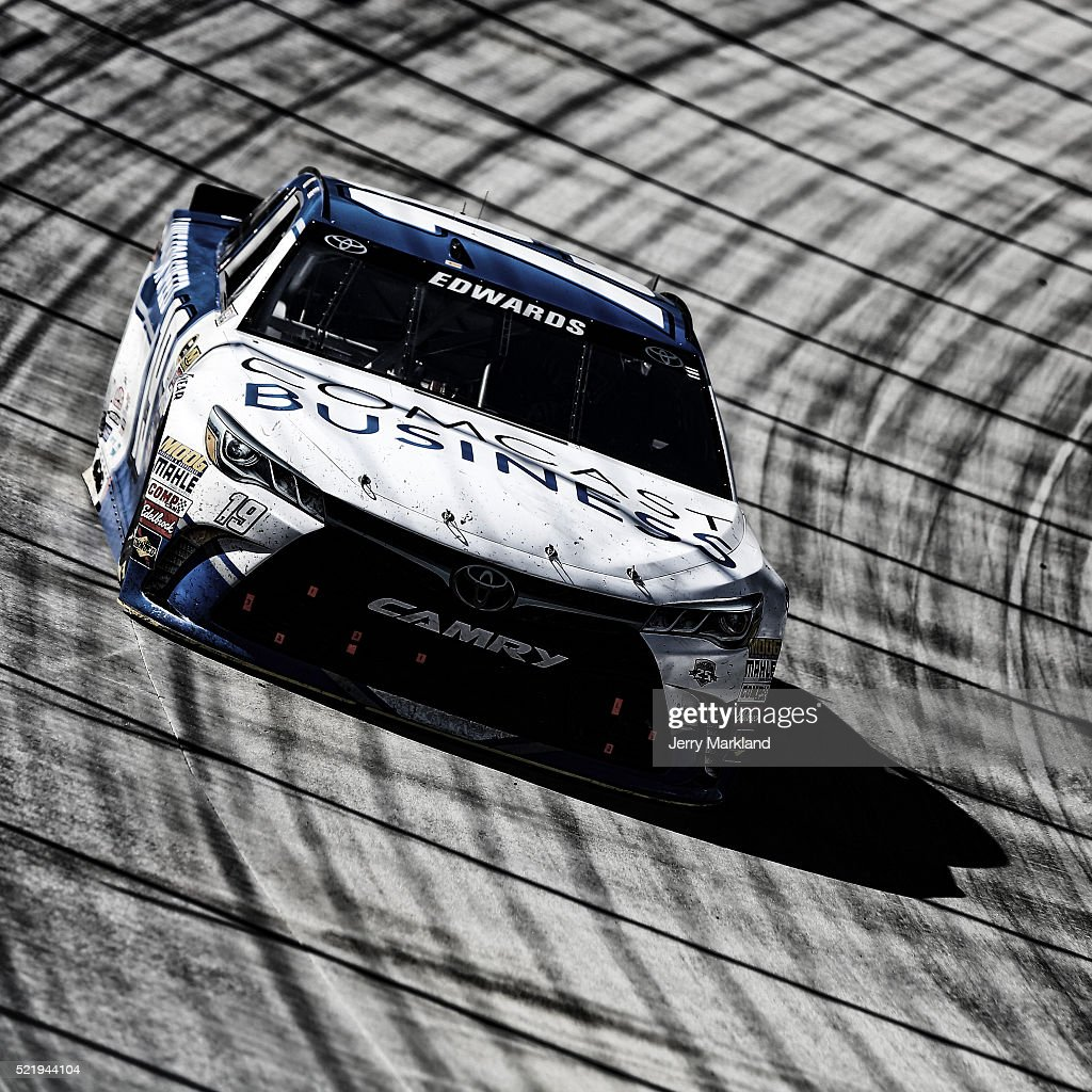 Carl Edwards driver of the Comcast Business Toyota races during the NASCAR Sprint Cup Series Food City 500 at Bristol Motor Speedway on April 17 2016...