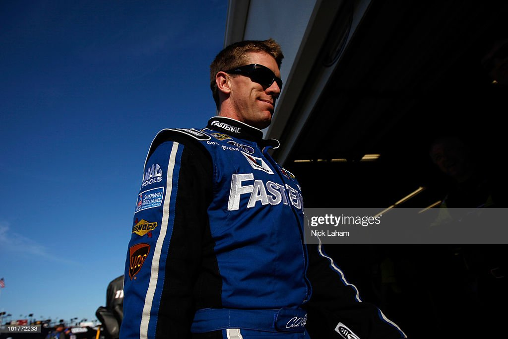 Carl Edwards, driver of the #99 Fastenal Ford, during practice for the NASCAR Sprint Cup Series Sprint Unlimited at Daytona International Speedway on February 15, 2013 in Daytona Beach, Florida.